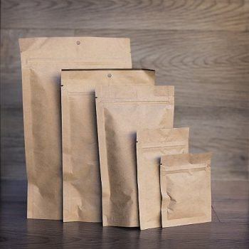 Kraft pouches with zippers