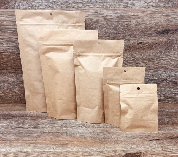 Kraft Custom Stand Up Pouches Ziplock Mylar Bags Smell Proof Bags