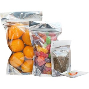 Clear Silver Mylar Bags Stand Up Food Pouch
