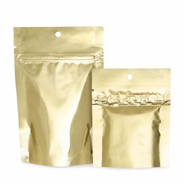 Gold Mylar Bags Stand Up Food Pouch