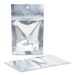 NYSM Clear/Silver 4×6×2.5 – 100 Pack Clear Silver Stand Up Pouch Food bags