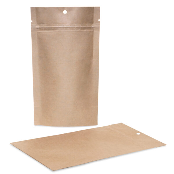 Kraft Mylar 5×8.5×3 – 100 Pack Stand Up Pouch Food Bags