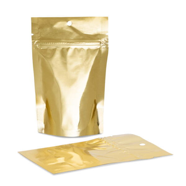 UpTown Funk 4×6×2.5 – 100 Pack Gold Stand Up Pouch Food Bags